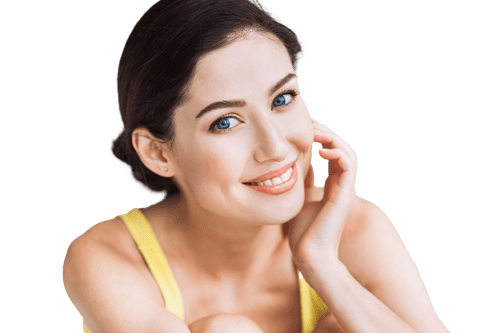 Woman feeling side of face, smiling | Skin Care