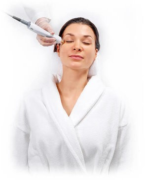 Woman receiving TempSure treatment in white background, relaxed